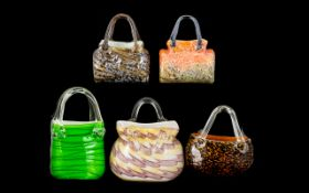 A Collection of Five (5) Decorative Glass Handbags. Assorted styles, in various colours.