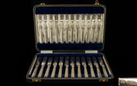 Elkington & Co ( 24 ) Piece Boxed Delux Set of ( 12 ) Silver Handle Knives & ( 12 ) Silver Handle