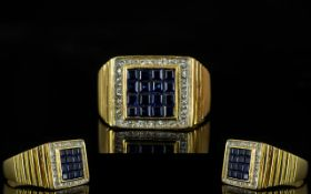 18ct Gold Sapphire and Diamond Set Dress Ring - of excellent quality.