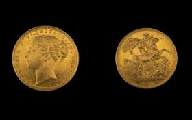 Queen Victoria Superb 22ct Gold - Young Head Full Sovereign - Date 1887. Sydney Mint & High Grade E.