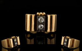 18ct Yellow Gold And Diamond Set Modernist/Brutalist Cocktail Ring Of solid, architectural form,