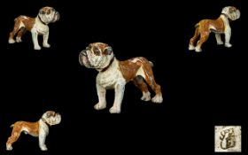 Franz Bergman - A Cold Painted Bronze Standing Figure Of A Bulldog By Franz Bergman,