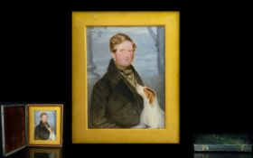 A 19th Century Portrait Miniature Framed and glazed in hinged leather bound case,