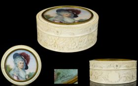 A Superb 19th Century French Carved Ivory Powder Box With Portrait Miniature To Lid Signed Claveau