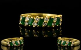 18ct Gold Emerald and Diamonds Set Dress Ring - of attractive form and nice design.