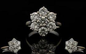 18ct White Gold Superb Quality Diamond Set Cluster Ring - flower head design.