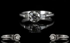 18ct White Gold Attractive Diamond Set Ring From The 1930's The central round brilliant cut