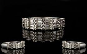 18ct White Gold Contemporary Designer Baguette And Brilliant Cut Diamond Dress Ring Multi- Channel