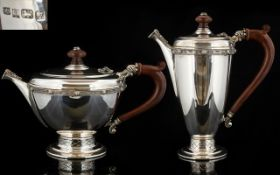A Well Made Celtic Knotwork Design Solid Silver Teapot And Accompanying Coffee Pot Each of