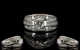 18 Carat White Gold Princess and Brilliant Cut Diamond 3 Row Dress Ring full 18 carat gold hallmark.