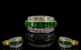 Ladies - Superb Quality 18ct Gold and Platinum Emerald and Diamond Set Dress Ring, From The 1950's