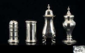 Antique Collection of Silver Pepperettes and Salt Pots ( 4 ) Four In Total,