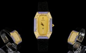 18ct Gold Corum Graff Diamond And Lavender Jade Set Wristwatch Comprising elongated octagonal case