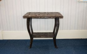 Oriental Carved Wood Occasional Table - of rectangular form with curved legs and rectangular bottom