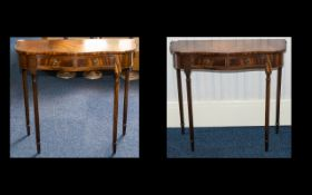 A Pair of Mahogany Console Tables - Shaped Fronts With Two Frieze Drawers Raised On Turned,