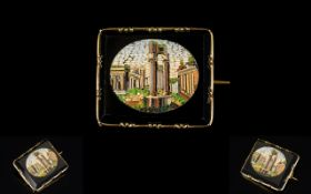 19th Century Micro Mosaic Brooch Depicting Arcadian ruins, the whole,