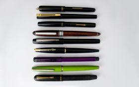 A Collection of Old and Vintage Fountain Pens ( 9 ) Nine In Total.