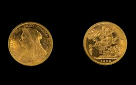 Queen Victoria Superb 22ct Gold - Old Head Full Sovereign - Date 1895.