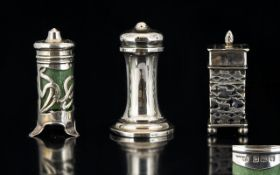 A Small Collection of Antique Period Sterling Silver Pepperettes of interesting form and design and