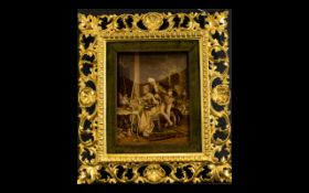 A Late 19th Century Chrystoleum Framed image on glass depicting a French interior scene with