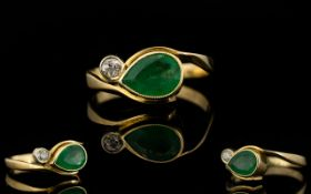 Antique Period 18ct Gold Snake Eye Emerald And Diamond Dress Ring The whole of attractive form,