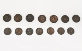 A Good Collection of George III - George I Farthings - (7) in total. 1. Date 1822 2. Date 1806, 3.