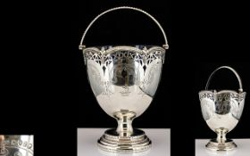 Victoria Period Exceptional Quality Silver Bell Shaped Swing Handle Sugar Basket Of large and