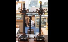 A Pair Of Reproduction Table Lamp Bases raised on square footed base with reeded column.