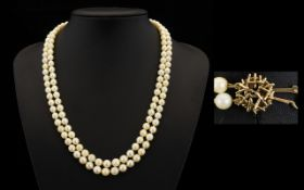 Ladies Wonderful Quality Double Strand Cultured Pearl Necklace With A 9ct Gold Clasp From the