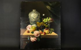 J Fermor (20th Century) Untitled Oil On Canvas Stilllife Depicting oriental vase, fruit and flowers,
