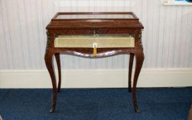 A Louis XV Style Glazed Vitrine Mahogany and walnut inlay bevelled glass display case,