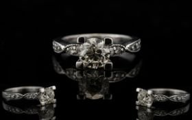 18ct White Gold Superb Quality Single Stone Diamond Ring - with diamond shoulders.