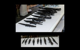 19th Century Congo Hand Carved Crocodiles Eight In Total. Ebony Wood. Various Sizes.