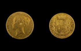 Queen Victoria 22ct Gold Young Head/Shield Back Full Sovereign - dated 1844.