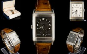 Jaeger - Le - Coultre 270854 - Very Fine Reverso Duo-face Night and Day Steel Wrist Watch with