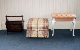 A Small Mixed Lot Of Furniture To include magazine rack, buttoned cushion dressing table stool and