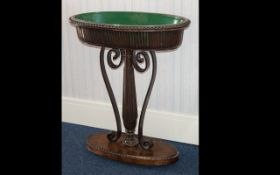 A Mahogany Plant Trough - raised on oval base with reeded,