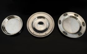 Arts and Crafts Circular Silver Small Dish with Applied Decoration to Border.
