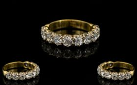 18ct Yellow Gold Superb Quality Diamond Set Half Eternity Ring,