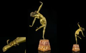 Patinated Bronze Figure 'The Snake Dancer' After the original by Claire Jeanne Roberte Colinet.