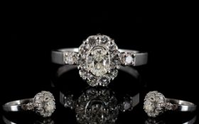 18ct Gold Diamond Set Cluster Ring Set w