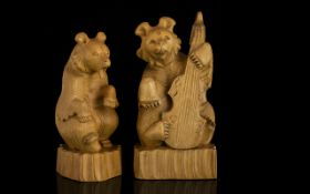 A Pair Of Novelty Carved Bear Figures Th