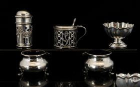A Pair Of Silver Salts Two cauldron shap