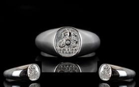 Platinum Signet Ring Raised crest to fro