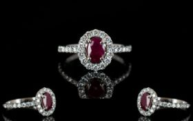18ct White Gold Ruby And Diamond Cluster