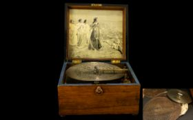 Walnut Cased Polyphonic Music Box Comple