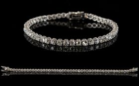 18ct White Gold Diamond Tennis Bracelet,