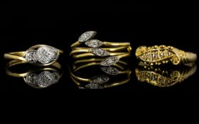 Three 18ct Gold Diamond Rings Two antiqu