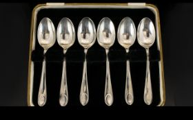 A Boxed Set Of Six Silver Teaspoons, Of