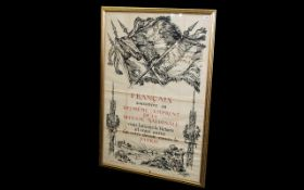 WWI Interest French Lithograph Framed an
